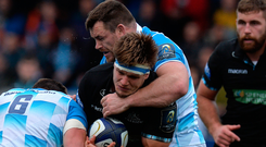Leinster try-scoring hero Cian Healy gets to grips with Glasgow's George Turner at Scotstoun. Photo: Getty Images