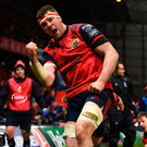 Peter O'Mahony shows his delight after scoring Munster's third try during the Champions Cup Pool 4 match against Leicester in Thomond Park. Photo: Stephen McCarthy
