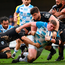 Tadhg Furlong's charge is brought to a halt by Montpellier's Kelian Galletier (L) and Antoine Guillamon at the Altrad Stadium Photo: Sportsfile