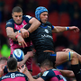 Gerbrandt Grobler (left) will be hoping to disrupt the Reds' lineout – just like he did against Castres – when he returns to Thomond Park with Gloucester on Saturday. Photo: Getty
