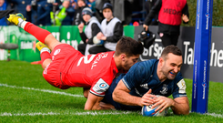 Leinster's Dave Kearney touches down for his side's second try against Toulouse yesterday. Photo: Stephen McCarthy