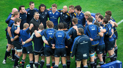 Michael Cheika speaks to his Leinster team before the 2009 Heinken Cup semi-final against Munster. Photo: Sportsfile