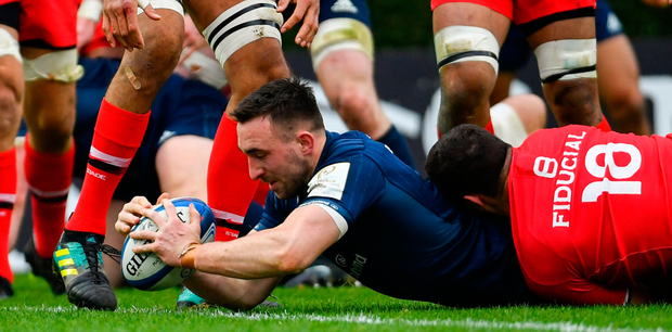 Jack Conan scoring a try against Toulouse at the RDS in the Champions Cup group stages. Photo: Sportsfile