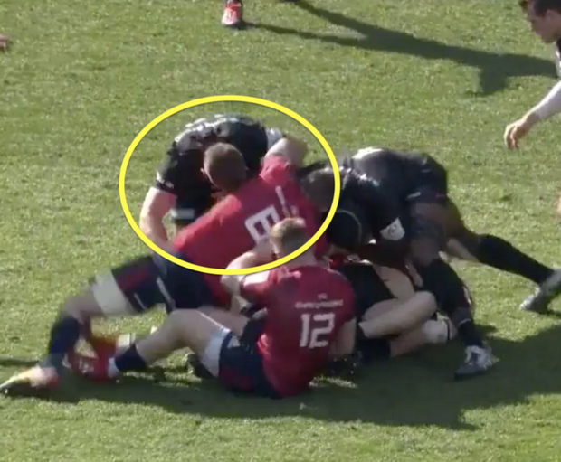 Owen Farrell takes out Peter O'Mahony from the side of a ruck
