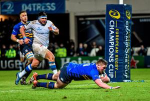 Tadhg Furlong, Leinster, goes over to score his side's fifth try of the game