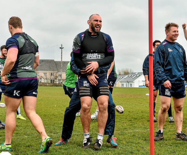Connacht's John Muldoon, centre, during training at the Sportsground Photo: Sportsfile