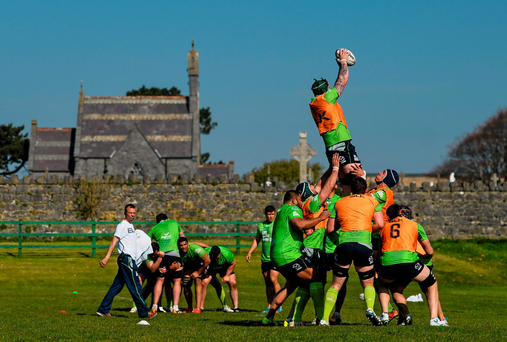 Aly Muldowney wins a line-out during training at the Sportsground in Galway