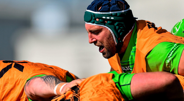 John Muldoon in action during Connacht's training ahead of the game against Glasgow (Sportsfile)