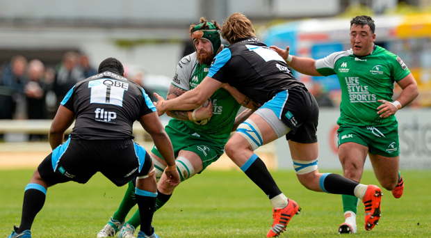 Aly Muldowney, Connacht, is tackled by Jonny Gray, Glasgow Warriors. Guinness PRO12, Round 20, Connacht v Glasgow Warriors (Oliver McVeigh / SPORTSFILE)