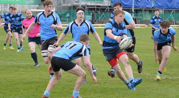 The Galwegians and Castlebar players in action during the recent U-17 Cup Final, which Galwegians won 23