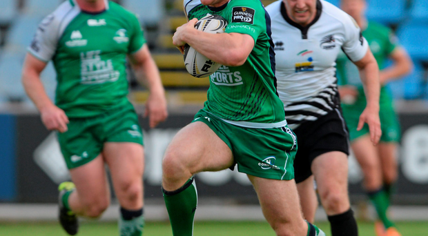 Matt Healy on his way to scoring against Zebre last weekend. Robbie Henshaw took a knock in the build-up but passed a subsequent concussion test to return to the action