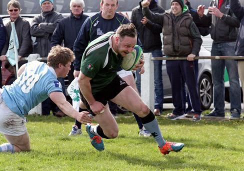 John Cleary scores for Galwegians against Garryowen last season