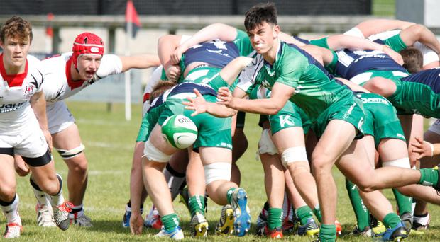 Connacht U-18 captain Barry Walsh fires out a pass from the base of a strong scrum in the victory over Ulster at Hatrick Park