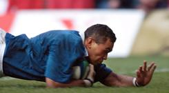 Connacht coach Pat Lam scores a try for Samoa against Wales at the 1999 World Cup as his side recorded one of the great upsets in the tournament's history