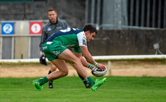 Tiernan O'Halloran gets in for a try against Cardiff earlier this month