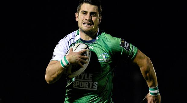 Tiernan O'Halloran breaks through to score a try for Connacht against Edinburgh – 'I got a few slaps on the back for the try,' he says