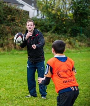Kieran Marmion at the Mazda Rugby Roadshow in Athlone