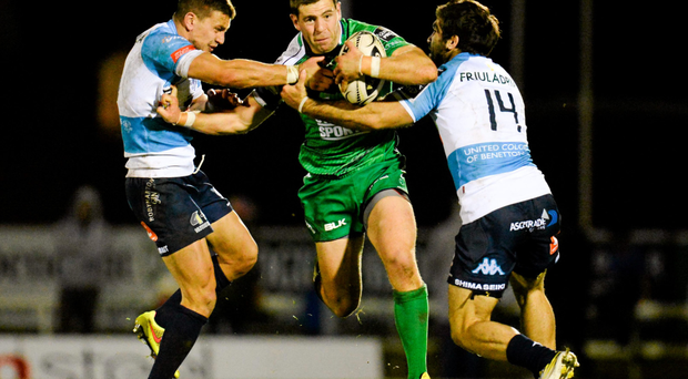 Connacht's Craig Ronaldson finds his way blocked by Tommaso Iannone and Andrea Pratichetti during last weekend's win over Benetton Treviso at the Sportsground