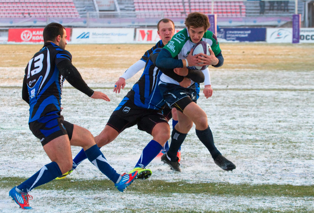 AJ MacGinty in action in Siberia where he kicked three penalties against Enisei-STM