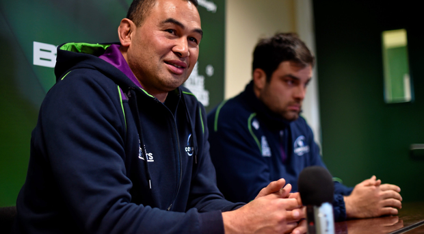 Connacht head coach Pat Lam with Ronan Loughney during this week's press conference at the Sportsground