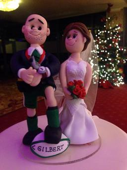 Connacht Branch referee Jason Cairns and his bride Naomi Maguire had appropriate figurines on their wedding cake