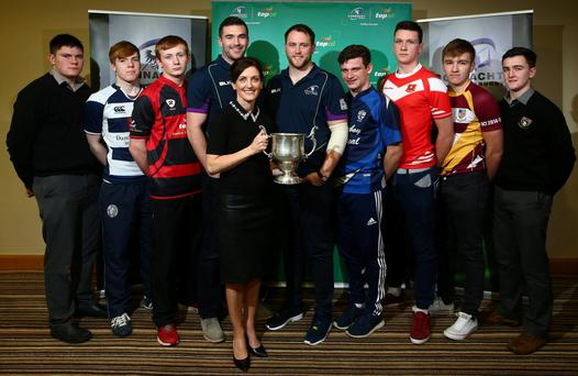 Connacht stars Andrew Browne and Eoin McKeon with Top Oil's Lisa Lillis and the various captains at the draw for the Connacht Schools Senior Cup