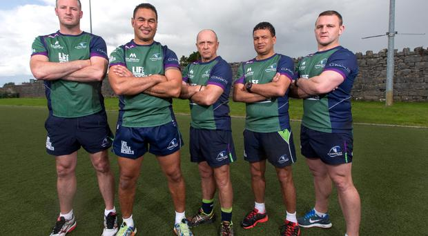 Head performance analyst Conor McPhillips alongside forwards coach Jimmy Duffy, head coach Pat Lam, skills coach Dave Ellis, backs and kicking coach Andre Bell