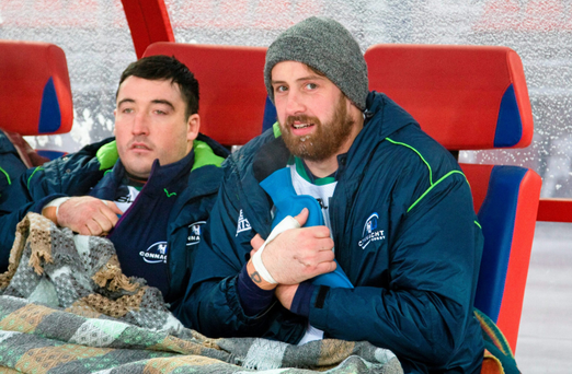 Connacht's Denis Buckley, left, and Aly Muldowney attempt to keep warm on the team bench during their victory in Siberia last month