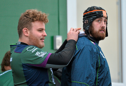Connacht's Finlay Bealham, left, and Aly Muldowney in training. Picture credit: David Maher / Sportsfile