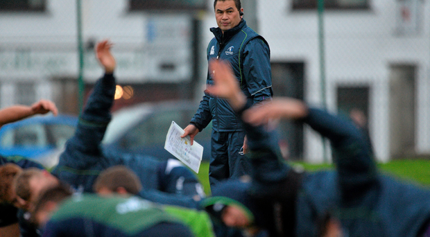 Pat Lam keeps a close eye on his Connacht players during training. Photo: Sportsfile