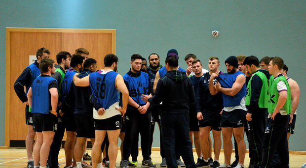 Pat Lam talks to his Connacht players in training in Galway this week (SPORTSFILE)