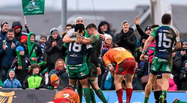 Rodney Ah You is congratulated after scoring his side's fourth try of the game