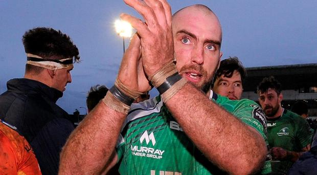 John Muldoon applauds the Sportsground crowd after the victory over Scarlets Photo: Sportsfile