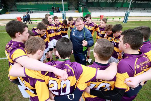 Crossmolina coach Russell O'Brien before the Connacht Schools Emerging Cup final Photo: INPHO/Mike Shaughnessy