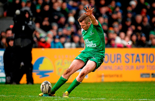 Connacht out-half Jack Carty demonstrates his place-kicking technique against Scarlets – his freak injury means that we will have to do without him until around April. Photo: Sportsfile