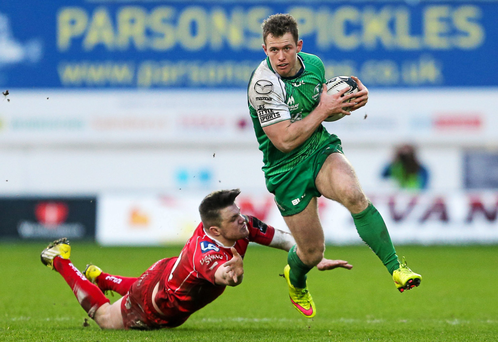Connacht's Matt Healy skips away from Scarlets' Steffan Evans during their PRO12 game last month. Photo: Sportsfile