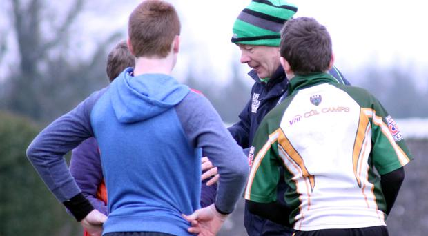 Students from Colaiste an Chreagain enjoy a training session with Connacht coach development officer Charlie Couper