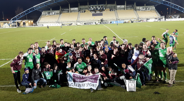 The Connacht players greet the travelling NUIG Academy after their victory in Parma