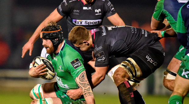 Connacht's Aly Muldowney is tackled by Olly Cracknell. Photo: Sportsfile