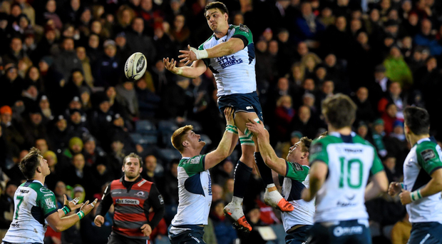 Quinn Roux wins a line-out for Connacht against Edinburgh at Murrayfield last Friday night, a win that propelled the Westerners to the top of the table