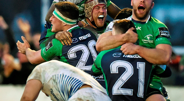 Connacht players celebrate their win against Leinster. Photo: Sportsfile