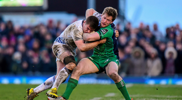 Connacht's Kieran Marmion gets to grips with Leisnter's Luke McGrath during his team's crucial Pro12 victory at the Sportsground last weekend. Photo: Sportsfile