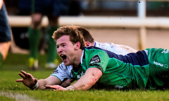 Kieran Marmion scores the only try of the game in Connacht's win over Leinster. Photo: Sportsfile