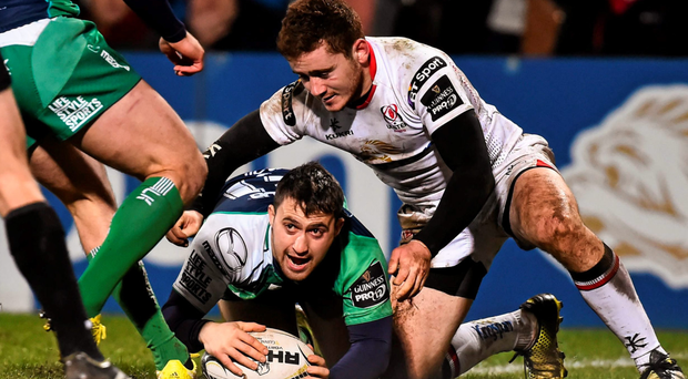 Caolin Blade scores a try against Ulster last weekend to finish off one of the best attacking moves of the season (SPORTSFILE)