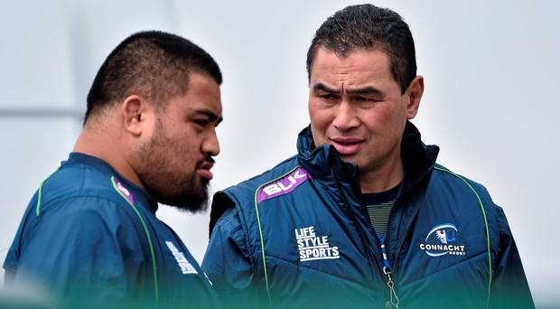 Rodney Ah You and Connacht head coach Pat Lam at squad training this week ahead of Munster's visit to the Sportsground. Photo: Sportsfile