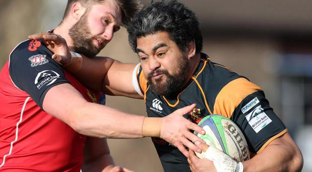 Buccaneers' Kolo Kiripati on the charge against Ballymena in the Ulster Bank League this season