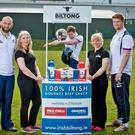 Connacht players John Muldoon, Kieran Marmion and Sean O'Brien at this week's launch of Irish Biltong as the official biltong supplier to Connacht Rugby Photo: INPHO/Morgan Treacy