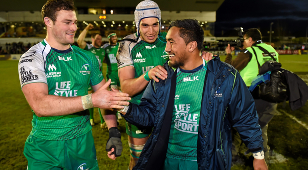 Connacht players (l-r) Robbie Henshaw, Ultan Dillane and Bundee Aki after beating Munster. Photo: Stephen McCarthy/Sportsfile