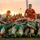 Munster and Connacht players contest a scrum