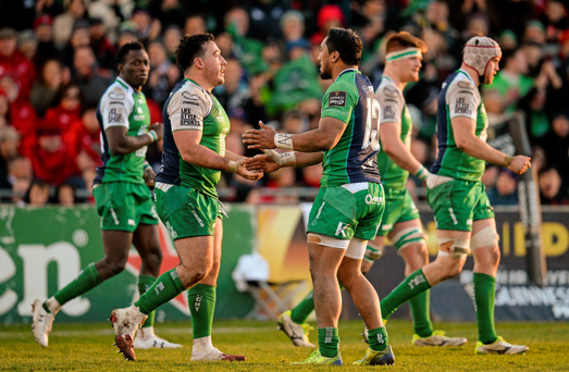 Connacht's Denis Buckley and Bundee Aki congratulate each other. Photo: Sportsfile